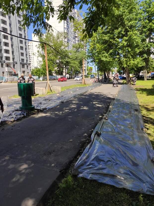 Фото дня: на Тайнинской восстановили газон