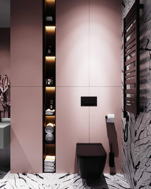 Черная сантехника в розовом интерьере ванной, проект Prosvirin design