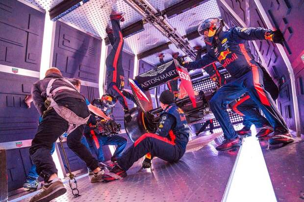 Aston Martin Red Bull Racing's mechanics pictured experiencing zero gravity for the first time during the Zero-G pitstop aboard an aircraft in Russia.