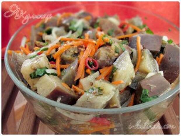 Острые маринованные баклажаны по-корейски с морковью и чесноком, рецепт с фото