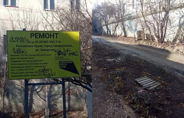 До беспутья Заводской улицы в Симферополе не донесли деньги нацпроекта