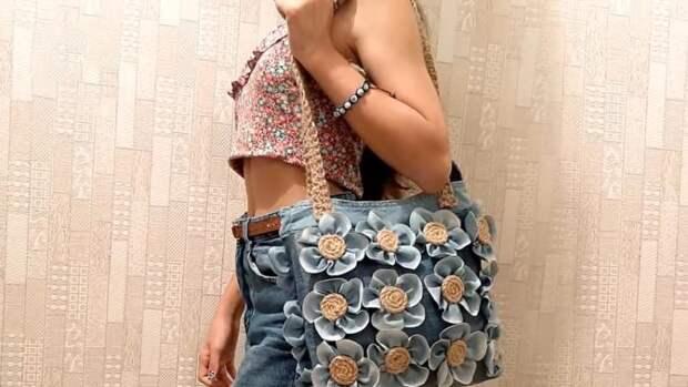 Чудесная сумочка на лето из старых джинсов и джута
