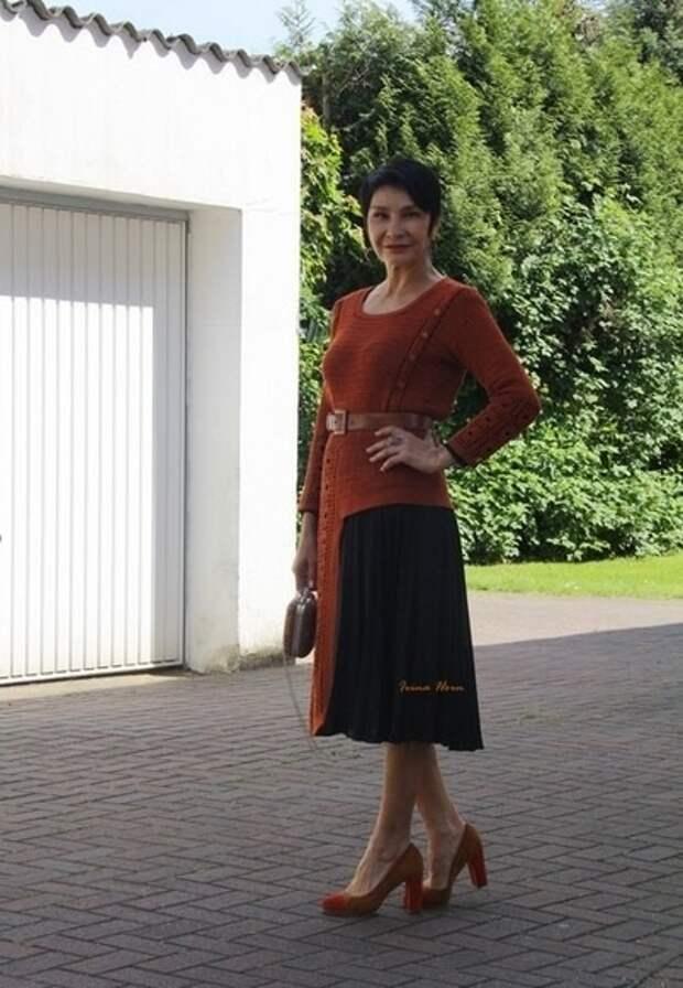 Асимметричное вязаное платье как связать (Diy)