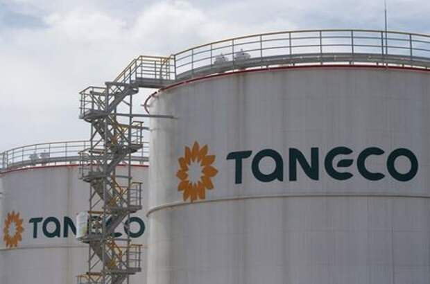 The logo of Taneco are seen on tanks at its refinery complex, which is part of Russia's oil producer Tatneft group of companies, in Nizhnekamskin, in the Republic of Tatarstan, Russia, July 26, 2017. Picture taken July 26, 2017. REUTERS/Sergei Karpukhin