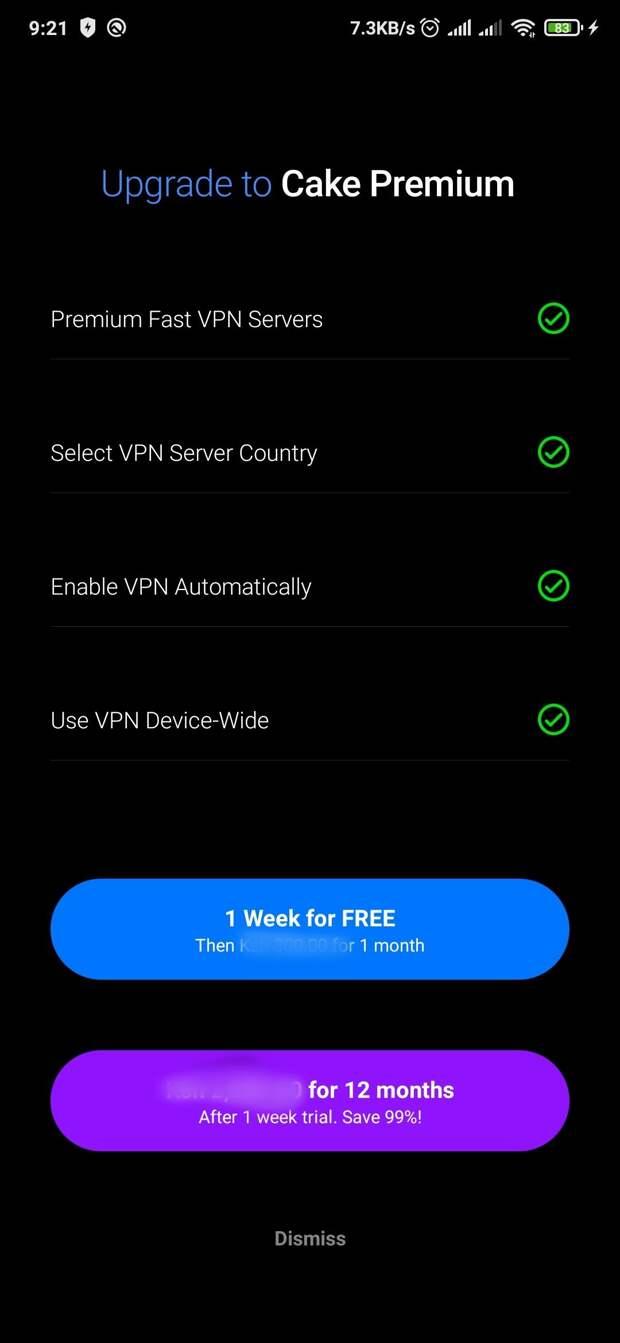 Cake browser premium VPN features