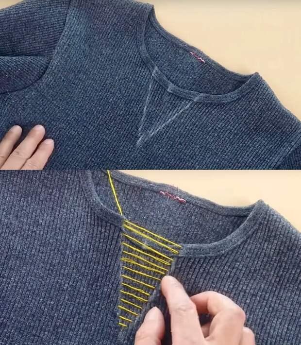 Два простейших способа изменить форму выреза на джемпере