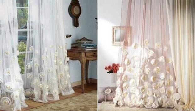 11 романтичных моделей штор из тюля-вуали своими руками