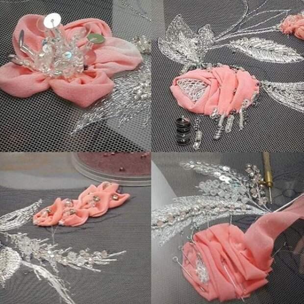 Цветы из ткани в работах дизайнеров и мастеров вышивки, фото № 20