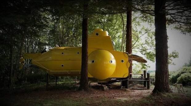 5 крутых фото желтой подводной лодки-отеля в лесу