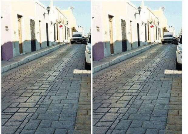 Всем кажется, что дороги на двух фотографиях сняты под разным углом...