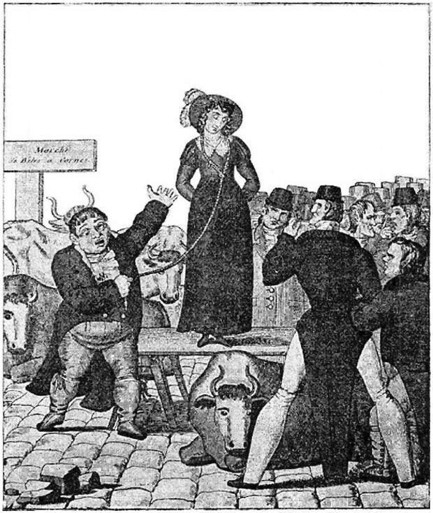 Французская гравюра 1820 года об английской продаже жены.   Фото: todayifoundout.com.