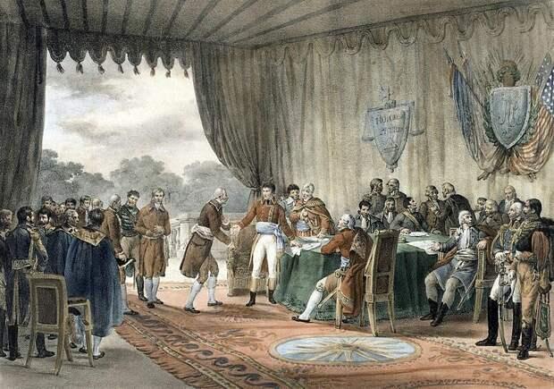 Подписание договора о дружбе и торговле между США и Францией (изображение взято с сайта diletant.media)