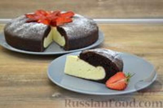 Шоколадный пирог-ватрушка с творожной начинкой
