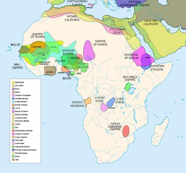Ранние государства в Чёрной Африке, в т.ч. обсуждаемые в настоящей статье. Обычно обслуживали работорговлю, арабскую и европейскую, а то и были созданы ею