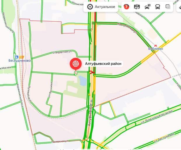 Загруженность дорог в Алтуфьеве вечером 26 июня — семь баллов