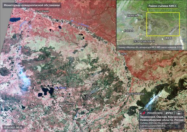 Лесные пожары в Омской области сняли из космоса
