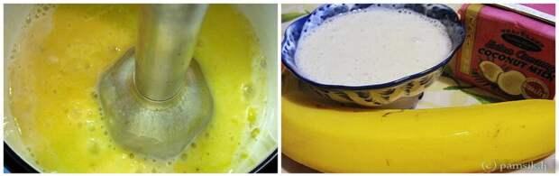 Ласси это такая индийская вкуснятина из банана и кокосового молока (пакетик на фото) и опять все вжик миксером