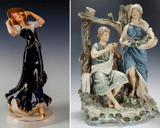 Старинные богемские статуэтки. Фарфор Royal Dux. | Фото: aspireauctions.com.