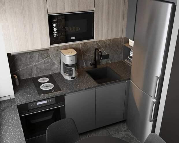 Всего 5 кв. м., но можно уместить всё: 12 классных кухонь