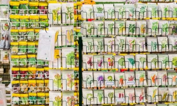 семена на стеллажах в магазине