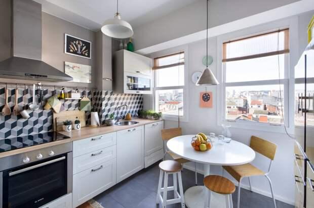 деревянная столешница для светлой кухни
