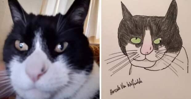 Художник рисует портреты животных настолько плохо, что они становятся шедеврами: 17 фото