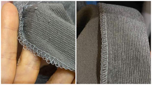 Слева ужасный внутренний шов-оверлок, справа - качественный.