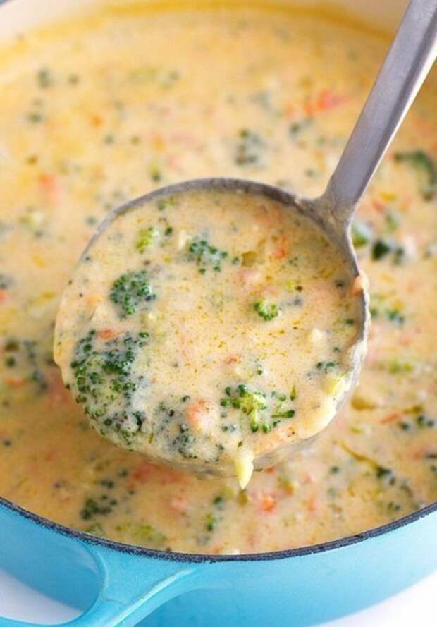 Сырный суп (с шампиньонами и брокколи).