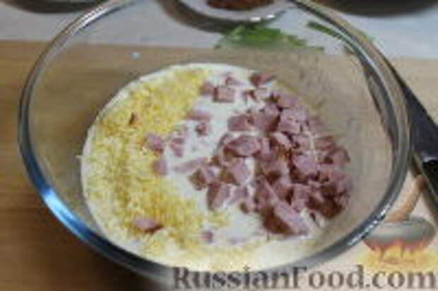 Фото приготовления рецепта: Запеканка из спагетти, со шпинатом и ветчиной - шаг №9