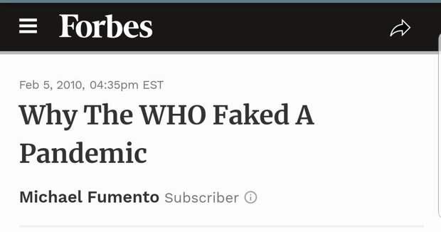 """Forbes: """"Почему ВОЗ подделала пандемию"""""""