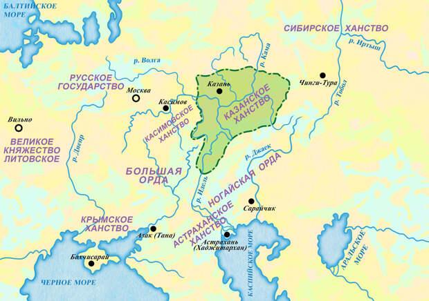 Россия и татарские Орды(ханства) в 30-х годах  XVI века