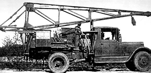 Опытный 2,5-тонный армейский автокран на базе АМО-3. 1933 год