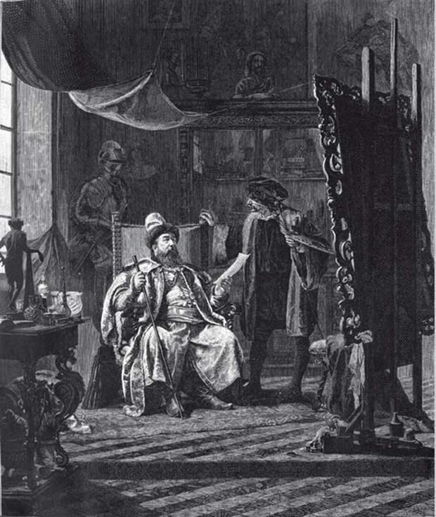 """Гравюра 19 века: """"Чемоданов в мастерской европейского художника"""""""