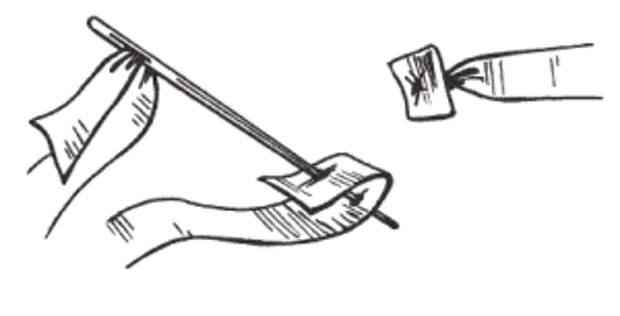 Крепление ленты с помощью плоского узелка