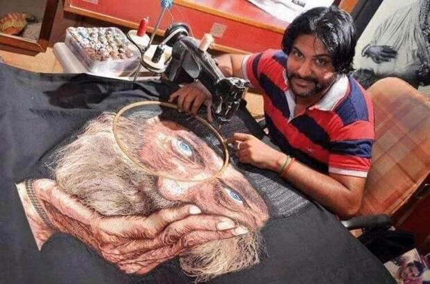Художник вышивает потрясающие картины с помощью швейной машины
