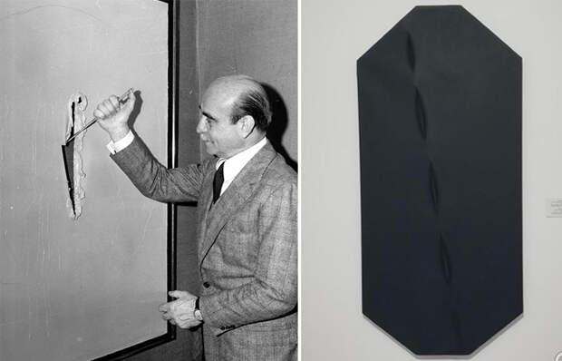Лучо Фонтана в процессе творческой работы и его концепция в черном цвете