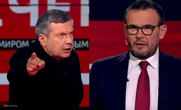 Соловьев поставил Вакарова в тупик словами о «подвиге» украинских пограничников в Донбассе