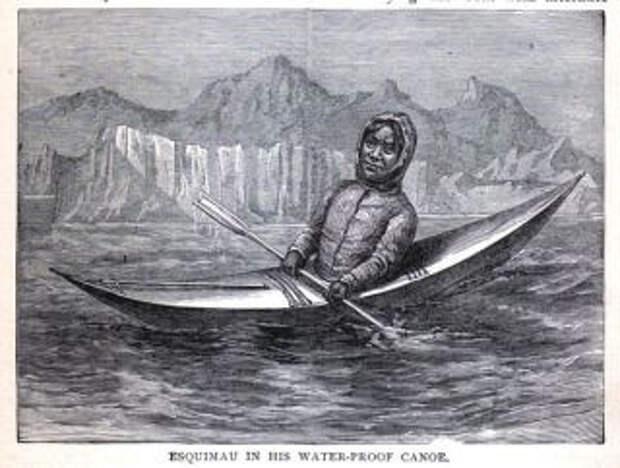 Гренландский инуит на каяке