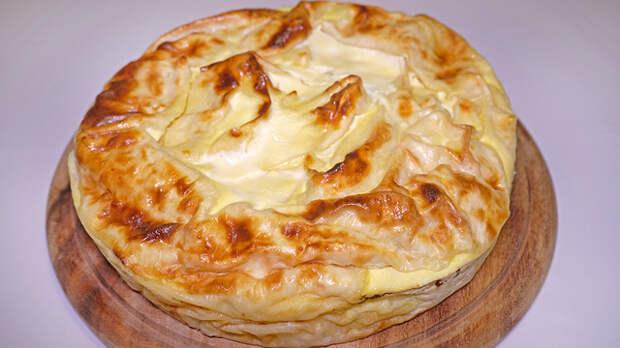 Фото к рецепту: Пирог из лаваша с творогом и курагой