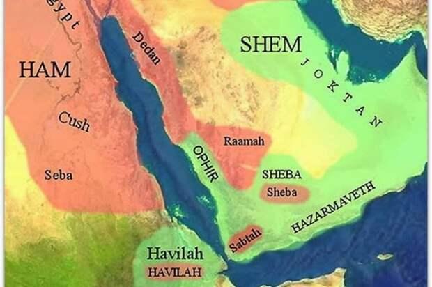 Карта библейских времен, показывающая предполагаемое местоположение Офира. Источник: неизвестен.