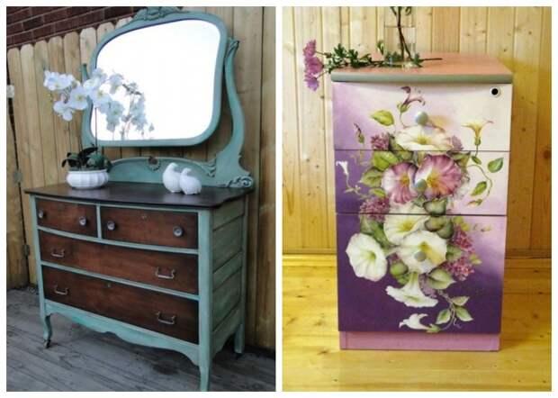 Старую мебель можно покрасить или оклеить самоклеящейся пленкой.