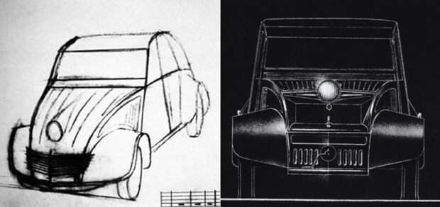 Первые эскизы будущего утенка выглядели… эээээ… оригинально Citroen 2CV, citroen, авто, автомобили, олдтаймер, ретро авто, францкзкий авто