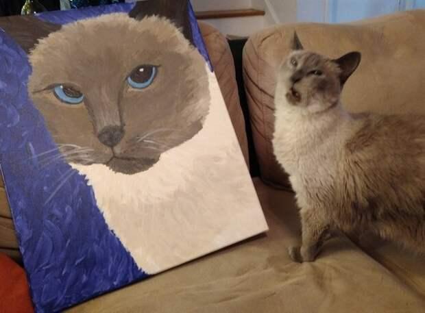 Мой кот что то недоволен своим портретом: