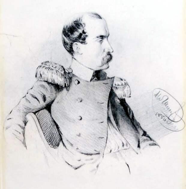 Полковник Данзас. Рисунок 1850 г. <br>
