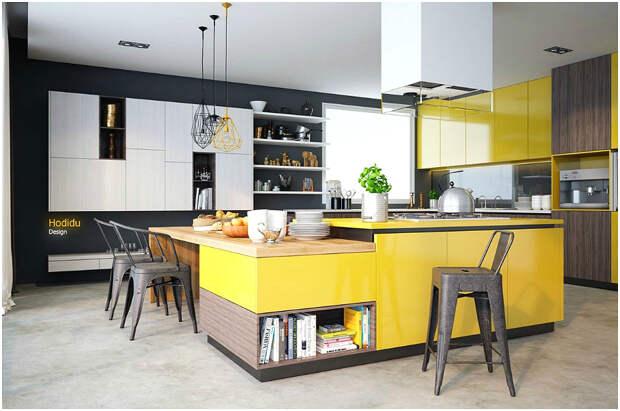 Комбинация жёлтого и чёрного в современном интерьере