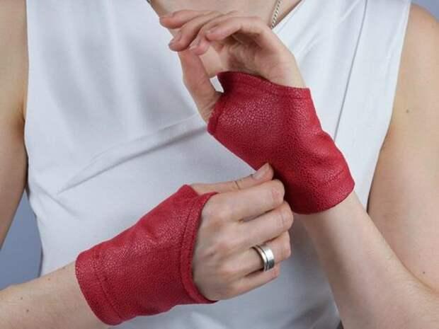необычные Митенки перчатки из кожи и фетра своими руками