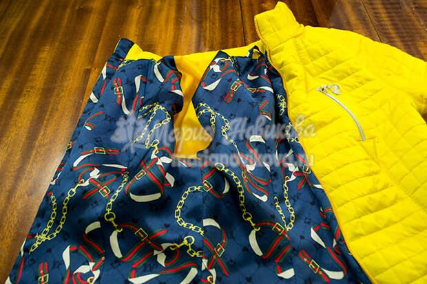 Соединить подкладку с курткой по бортами