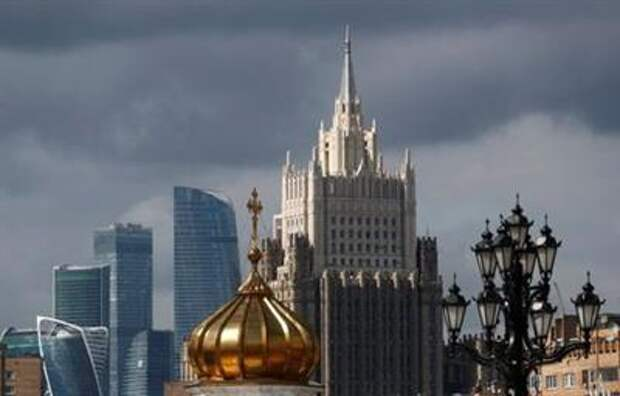 A view shows the Russian Foreign Ministry's headquarters, the Moscow International Business Centre, also known as