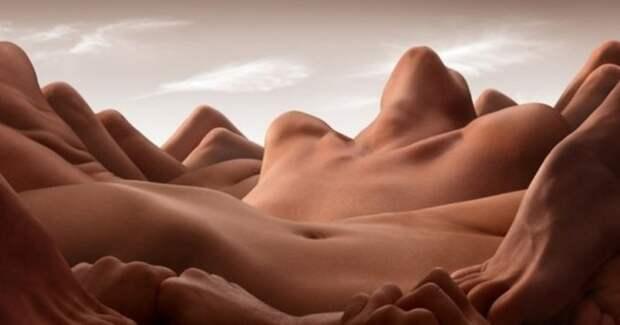 Голая геология: сюрреалистические ландшафты Карла Уорнера, созданные изобнаженных тел