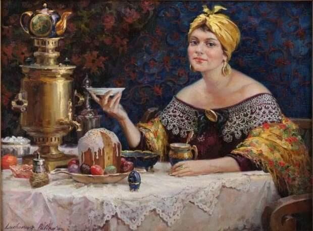 Источник: artchive.ru. Полина Лучанова «Купчиха. Пасхальное чаепитие» (2009)